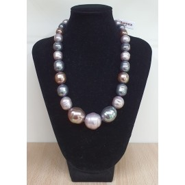 Pearl tricolor necklace. Silver crimp 48 CM