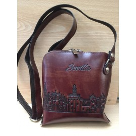 HANGING BAG WITH ZIPPER CLOSURE. RECYCLED LEATHER. SEVILLE. 801