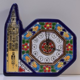 "CLOCK ""Cuerda-Seca"" 14 CM GIRALDA TOWER. COLOR"